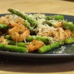 Pan fried Asparagus and prawns